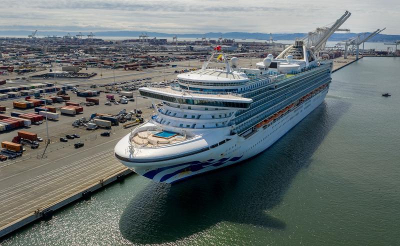 ▲至尊公主號已於美國時間 9 日獲准停靠於加州奧克蘭港口。(圖/美聯社/達志影像)