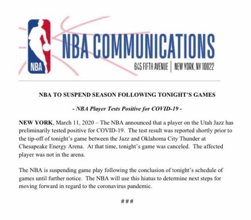 <br> ▲NBA宣布暫停封館。(圖/取自NBA官方推特)