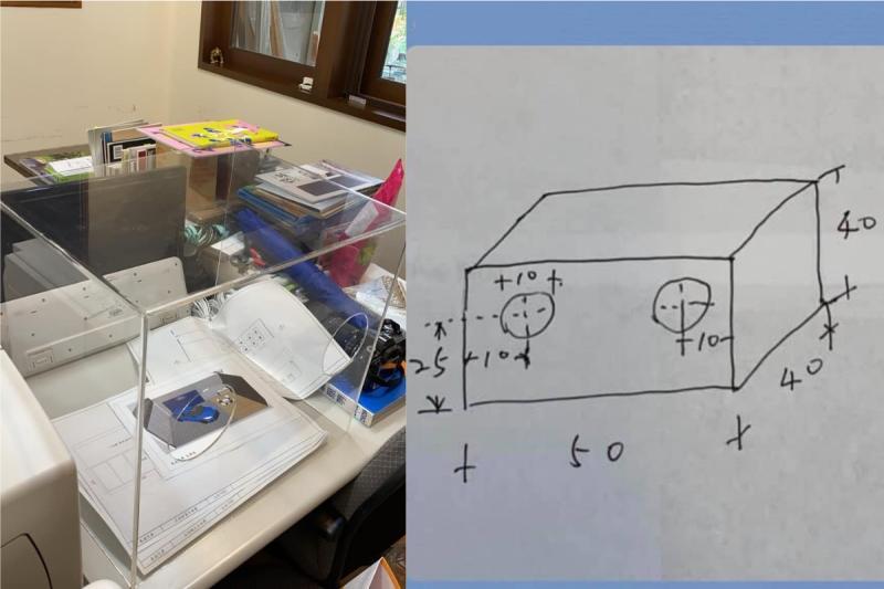 ▲門諾醫院麻醉科醫師賴賢勇分享自己設計的防噴濺壓克力箱。(合成圖/翻攝賴賢勇臉書)