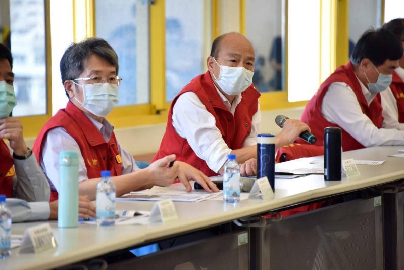 ▲高雄市長韓國瑜今日下午主持第13次「嚴重特殊傳染性肺炎」應變會議。(圖/高市府提供)