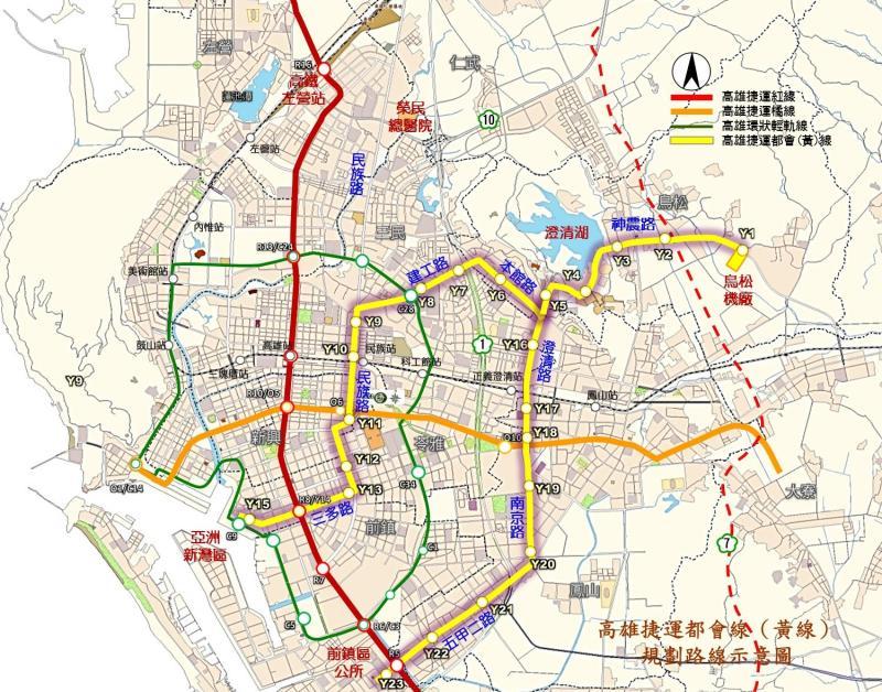 ▲高雄捷運都會線(黃線)規劃路線示意圖。(圖/高市府提供)