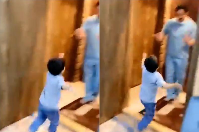 ▲沙烏地阿拉伯一名醫生父親拒絕兒子撒嬌討抱。(合成圖/翻攝@Doranimated推特)