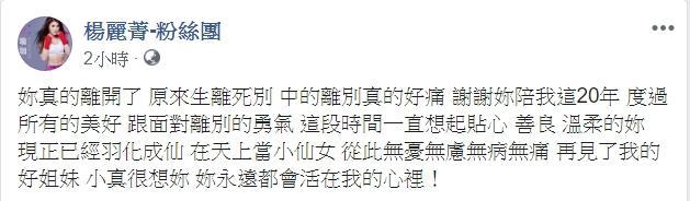 <br> ▲楊麗菁悼念劉真。(圖/翻攝楊麗菁臉書)