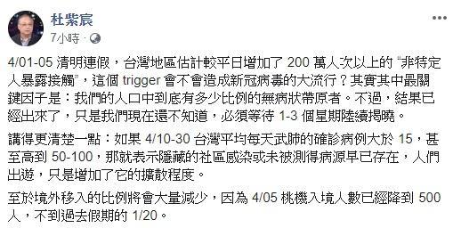 ▲杜紫宸在臉書表示,清明連假期間,台灣比平日增加了