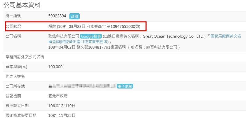 ▲SWAG母公司歐鉉科技於3月23日已申請解散。(圖/翻攝自經濟部商業司)