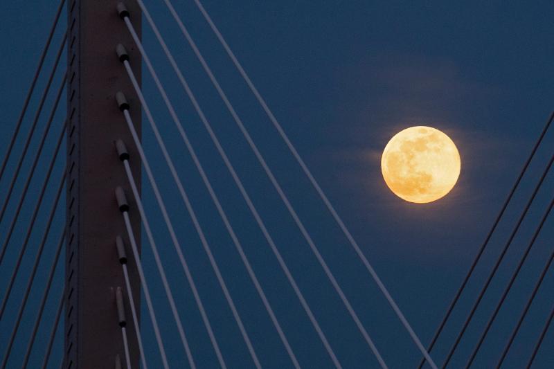 ▲2020年最大最明亮的超級月亮高掛夜空。(圖/美聯社/達志影像)