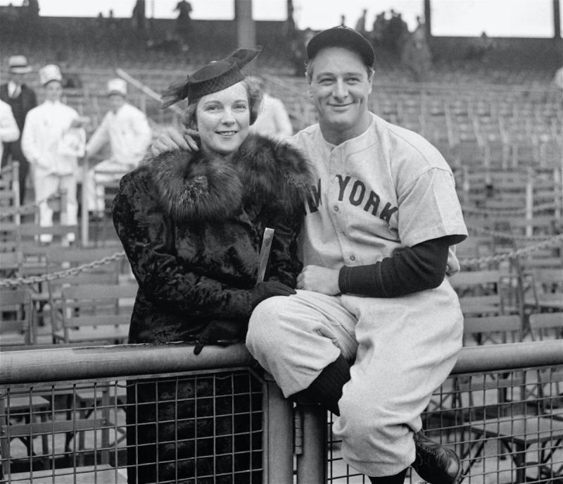 洋基傳奇Lou Gehrig與妻子Eleanor。(圖/美聯社/達志影像)