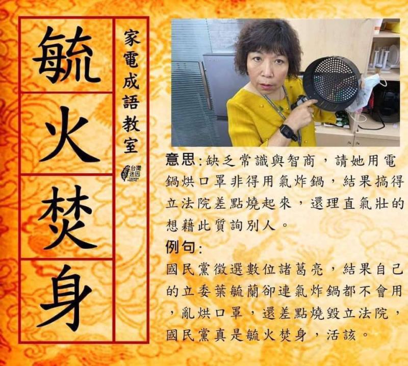 ▲葉毓蘭版家電成語教室教學圖。(圖/翻攝大鈞臉書)