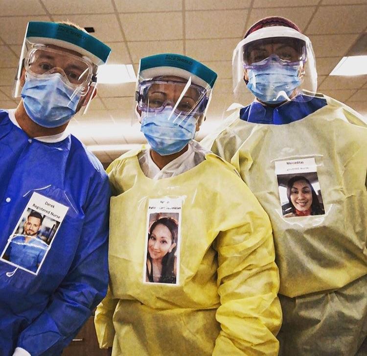 ▲此舉也引起眾多醫護仿效,在防護服外貼自己的照片。(圖/翻攝自 IG )