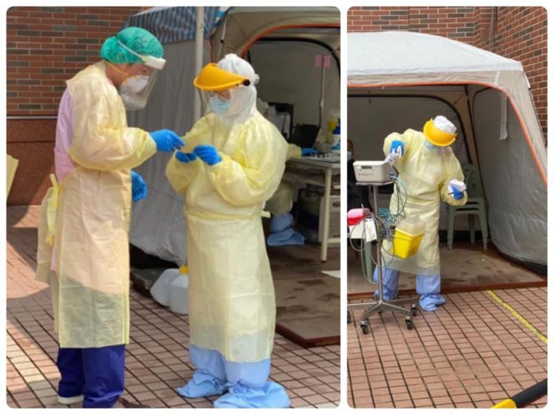 ▲醫護人員穿著厚重防護裝備。(圖/翻攝急診醫師的眼睛(白永嘉醫師)臉書)