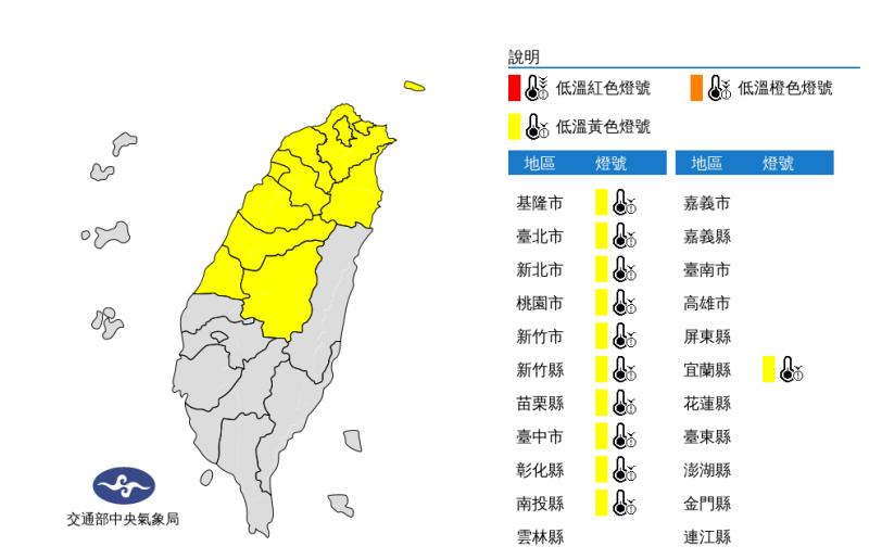 北台灣入夜下探6度 11縣市發布低溫特報