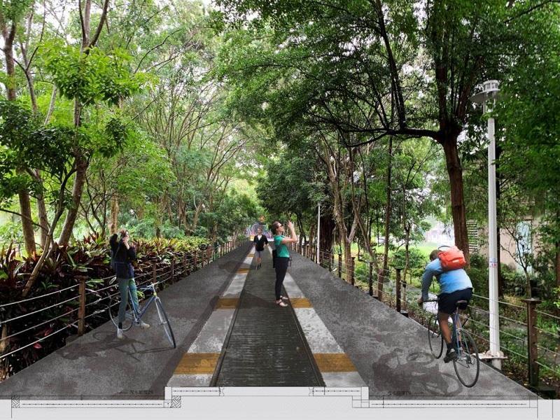 嘉義市嘉油鐵馬道優化完工後模擬圖。