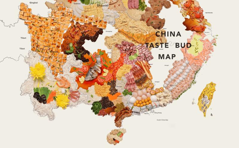 ▲中國設計師將台灣列入中國美食地圖中。(圖/翻攝自 Behance )
