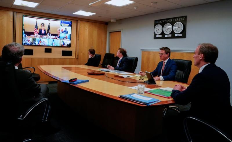 ▲ G7 領袖透過視訊會議討論抗疫方針。(圖/翻攝自英國外交大臣拉布推特)