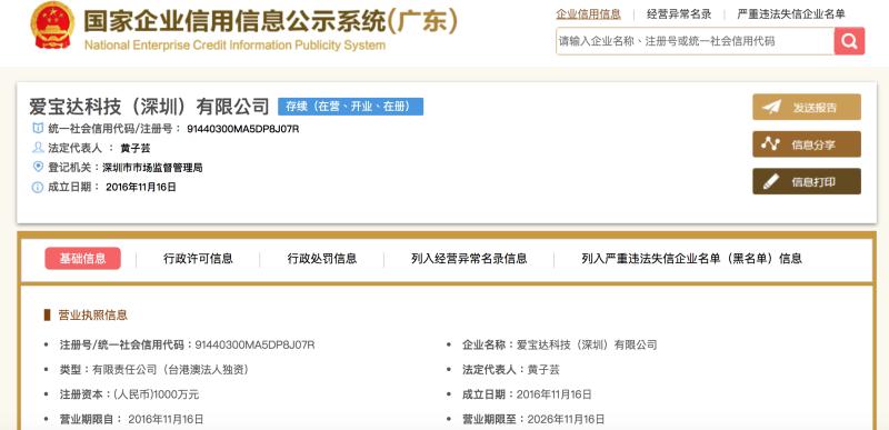 ▲(圖/翻攝自中國大陸國家企業信用信息公示系統)