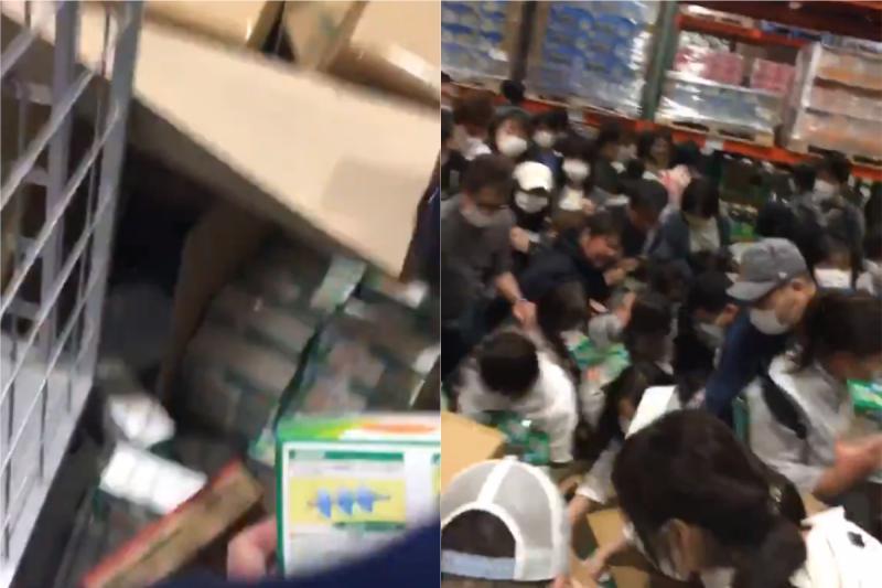 ▲日本人在美式賣場搶購剛開箱的口罩。(合成圖/翻攝@ronken04推特)