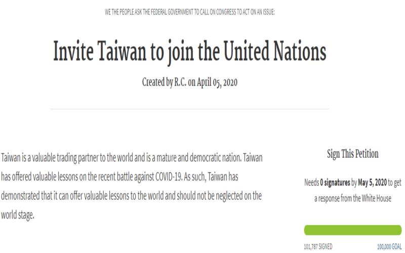連署<b>達標</b>!白宮網站「邀台入聯合國」破10萬 60天須回應