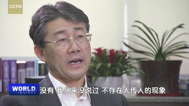 ▲中國大陸疾控中心主任高福接受官媒採訪,強調自己從未說過新冠病毒不會人傳人,只是程度問題。(圖/擷取自 CGTN 訪問片段)