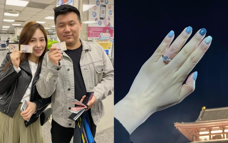 ▲丁巧唯(左)宣布結婚喜訊。(圖/丁巧唯臉書)