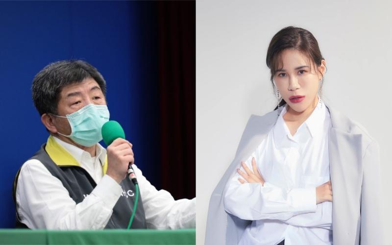 ▲丹尼婊姐(右)大讚衛福部長陳時中(左)。(圖/丹尼婊姐臉書、指揮中心提供)