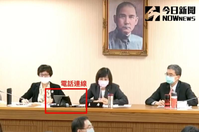 ▲國防外交委員會電話連線敦睦支隊長陳道輝少將。