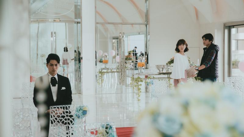 <br> ▲孫可芳出席前男友林子閎(左)的婚禮。(圖 / 華視提供)