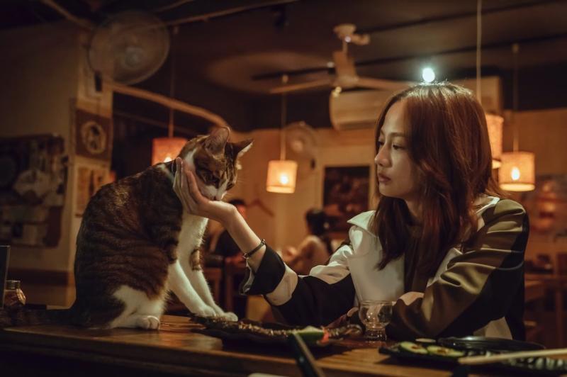 <br> ▲店貓進財(左)趁簡嫚書演哭戲時,偷吃桌上烤魚。(圖 / LINE TV提供)