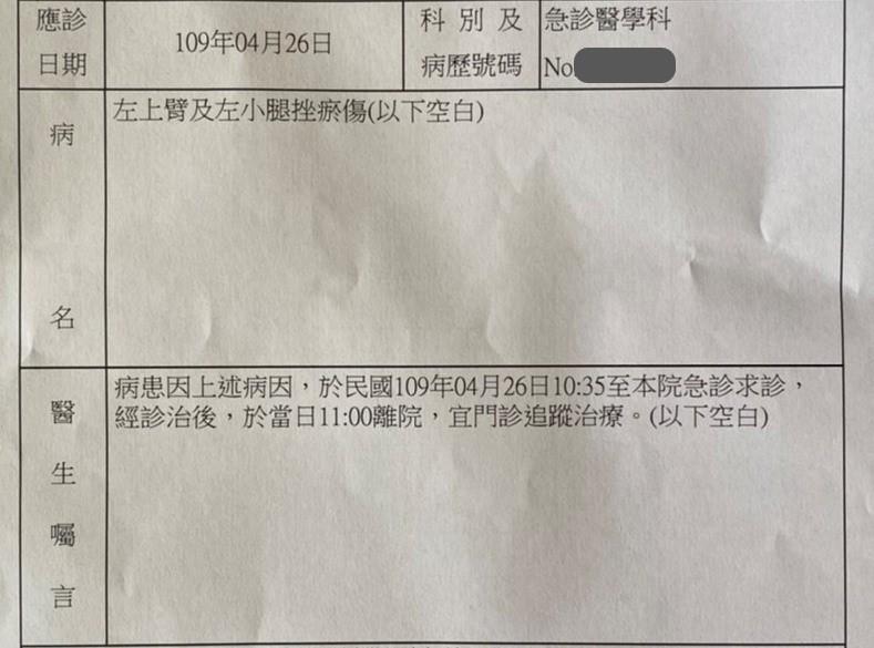 <br> ▲驚魂未定的吳女逃離佛堂後,前往醫院驗傷。(圖/記者陳聖璋攝,2020.04.26)