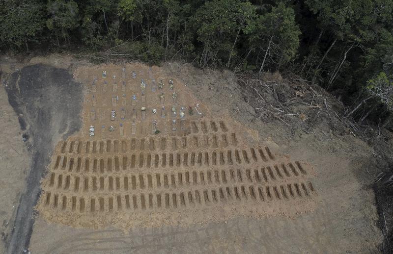 ▲近日空拍巴西亞馬遜州馬瑙斯市,大量的墓穴剛被開挖準備使用。(圖/美聯社/達志影像)