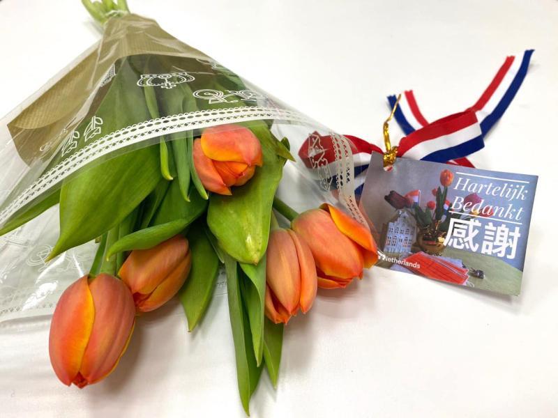 ▲荷蘭空運來台 3999 朵荷蘭國花鬱金香,表達對台灣第一線醫護人員的謝意。(圖/翻攝自荷蘭貿易暨投資辦事處)