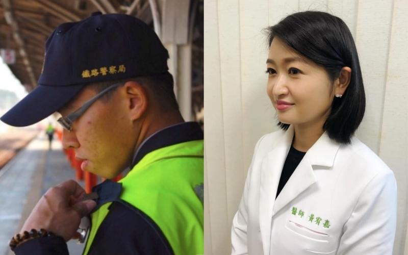 ▲醫師黃宥嘉(右)談殺警案,左圖為因工殉職的員警。(圖/黃宥嘉臉書、記者陳惲朋攝)