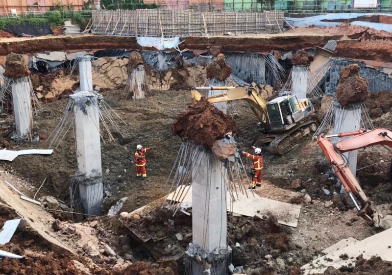 影/平鎮停車場工地坍塌 持續搜救失聯女工
