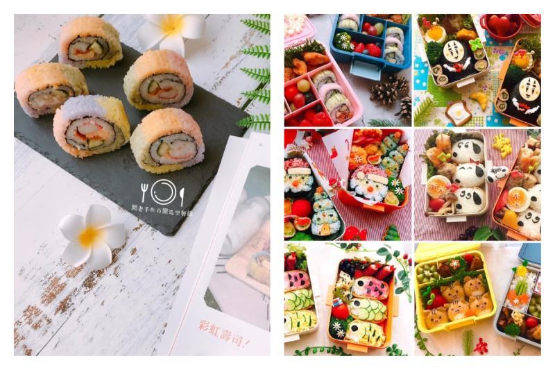 ▲網友分享自己手做的壽司捲,五顏六色十分繽紛可愛,讓大家驚嘆「高手在民間,真的太強了」。(圖/「閒妻手作百變造型餐錄」授權使用)