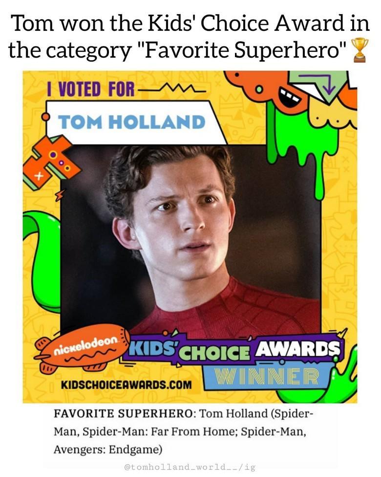 ▲《蜘蛛人》湯姆霍蘭德勇奪「最受歡迎英雄」。(圖/翻攝Nickelodeon)