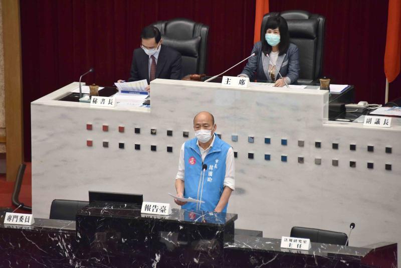 <br> ▲高雄市議會今(4)日召開臨時會,邀請市長韓國瑜做疫情相關措施專案報告。(圖/高市府提供)