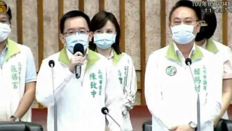 <br> ▲民進黨議員陳致中要求韓國瑜為200多天未進議會等議題向市民道歉。(圖/陳致中提供)