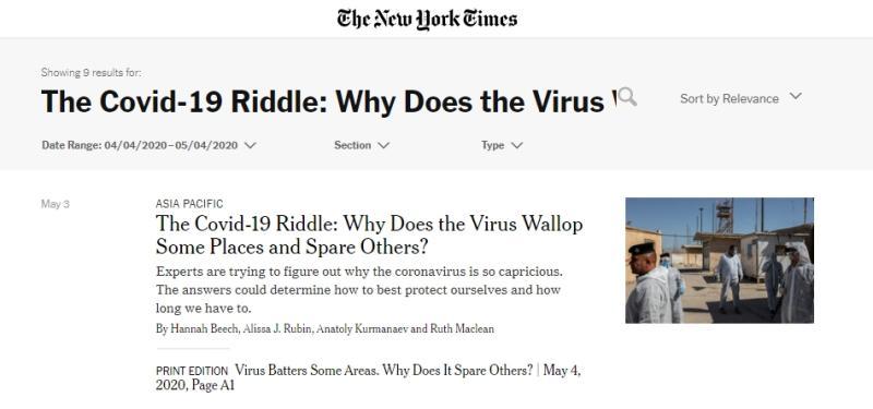 <br> ▲美媒《紐約時報》 5 月 3 日報導〈 COVID-19 之謎:為什麼病毒重創一些地區,卻放過了其他地方〉。(圖/翻攝紐約時報)