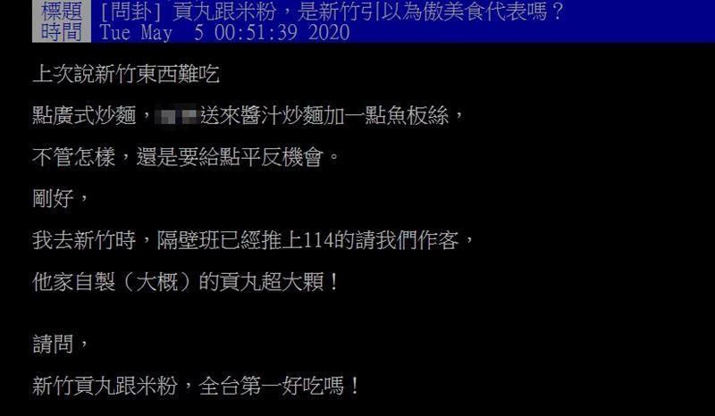 ▲網友在PTT討論新竹美食。