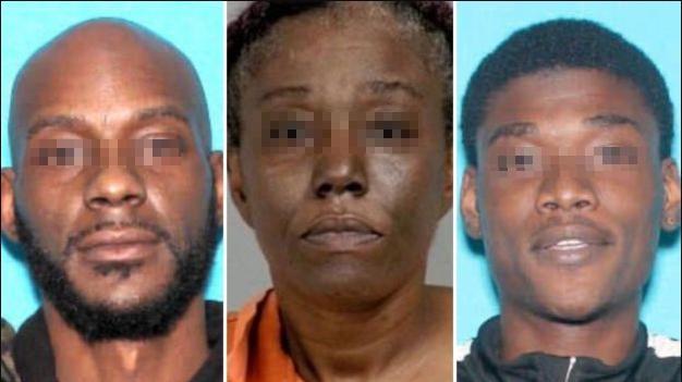 ▲美國密西根州傑納西縣立檢察署公布3名槍擊嫌犯照片,媽媽(中)已被逮捕,父親(左)兒子(右)仍在逃。(圖,經打碼處理/Genesee