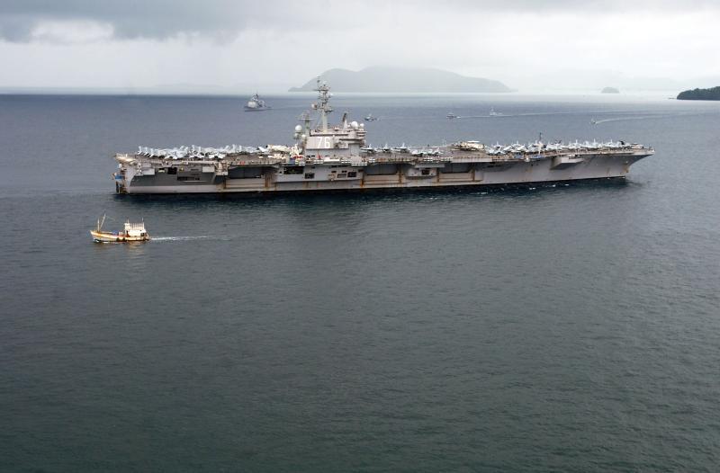 ▲美國海軍雷根號航空母艦(