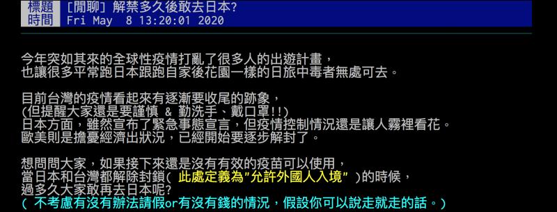 ▲有網友好奇詢問,解禁之後大家要多久才敢再去日本玩?(圖/翻攝自批踢踢)