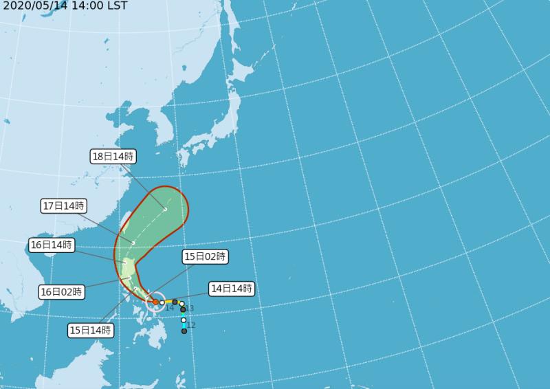中颱黃蜂目前以每小時13公里速度,向西北西進行。