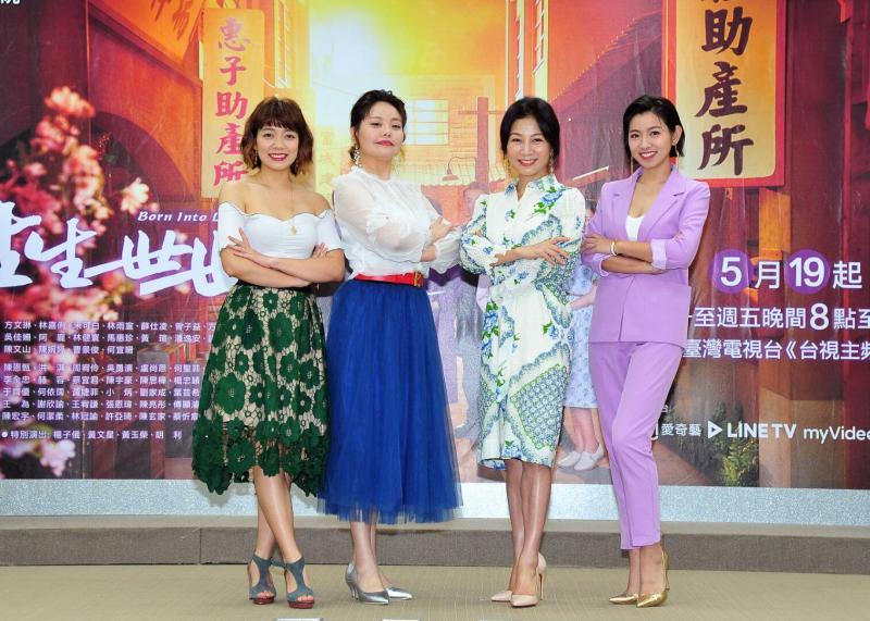 ▲林雨萱(左起)、林嘉俐、方文琳、米可白同台飆戲。(圖/台視提供)