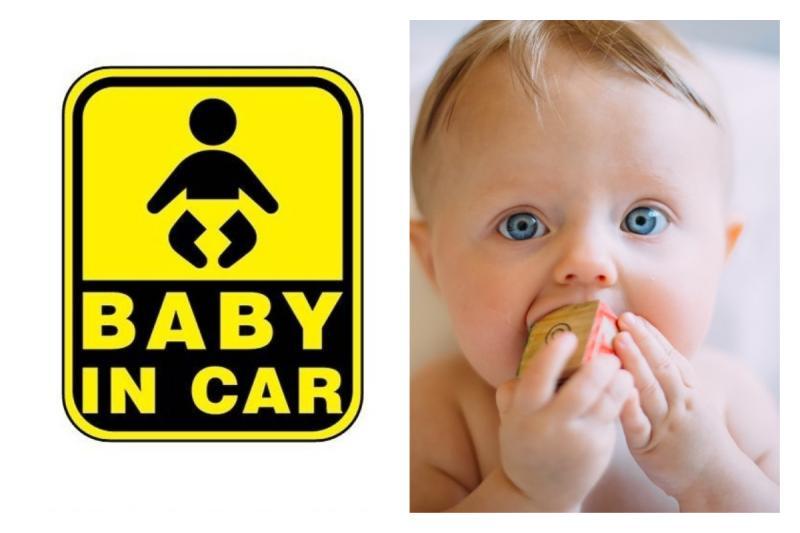 ▲車子後方常常看到的「Baby In Car」貼紙,你知道真正的用意為何嗎?(合成圖/翻攝自 PC home,Unsplash)