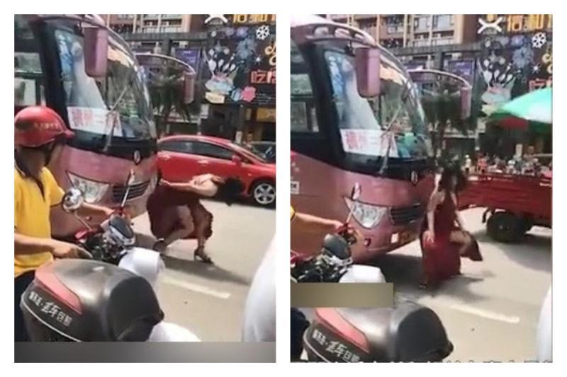 ▲廣西南寧街頭驚見一位紅裙女子,行跡失序大鬧馬路,引發熱議。(圖/翻攝自微博)