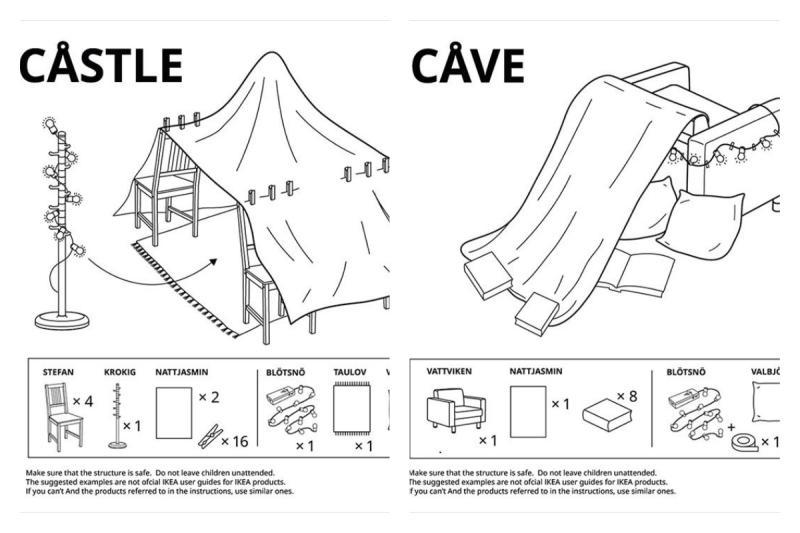 ▲俄羅斯 IKEA 推出一系列教學,讓民眾簡單把日常傢俱變身孩童遊樂園。(圖/翻攝自 IKEA)