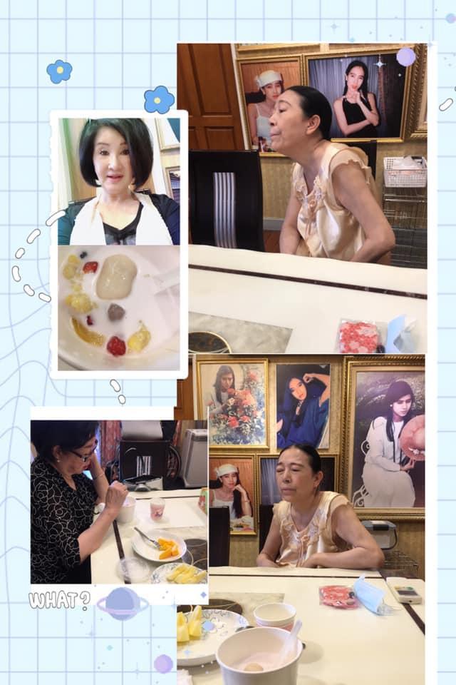 ▲恬娃與陳淑芳、許純美(無袖睡衣者)喝下午茶。(圖/恬娃臉書)