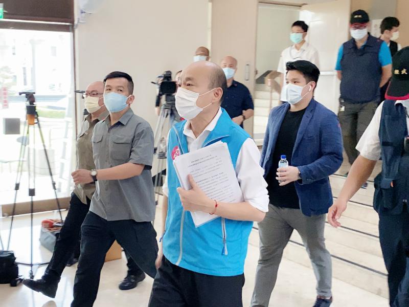 ▲高雄市長韓國瑜今(18)日到議會定期會施政報告。(圖/記者張文晃攝,2020.05.18)