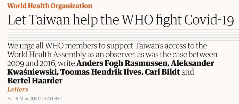 ▲丹麥前總理拉斯穆森(Anders Fogh Rasmussen)為首的5位歐洲前領導人投書英國衛報,力挺台灣參與WHA大會。(圖/翻攝The Guardian)