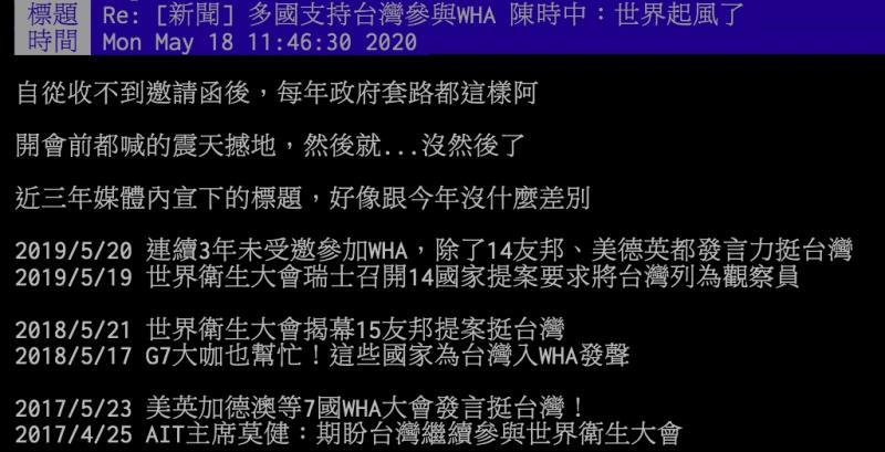 ▲台灣近幾年為前進WHA而做努力,也獲得多國聲援,但最後仍未成功。(圖/翻攝PTT)